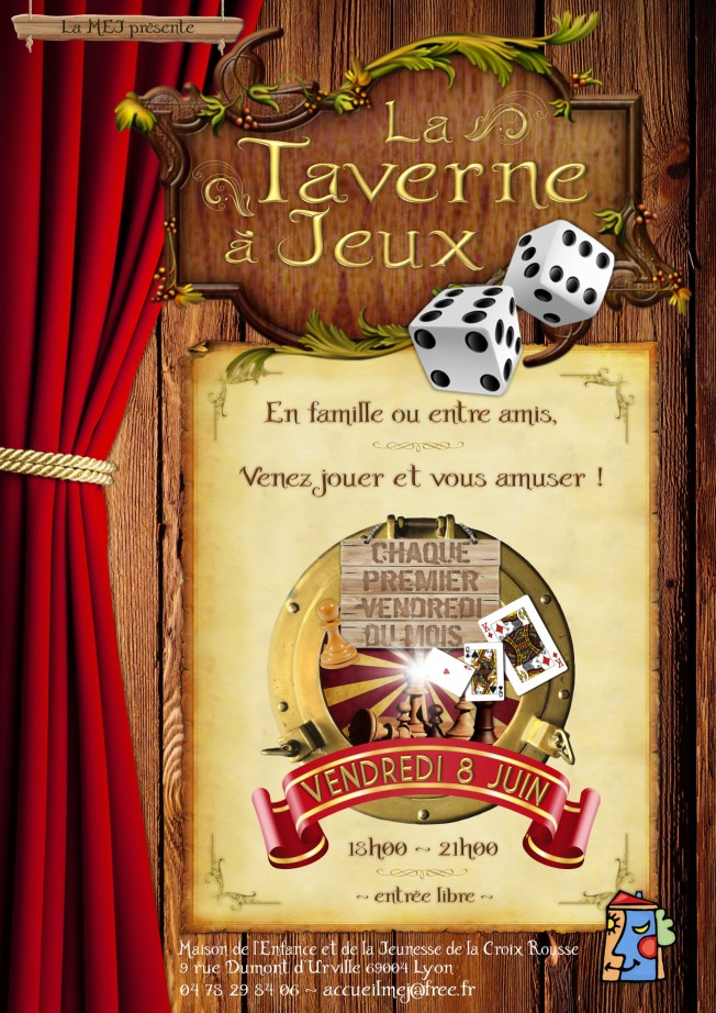Affiche Taverne à Jeux MEJ - Vendredi 8 Juin 2018